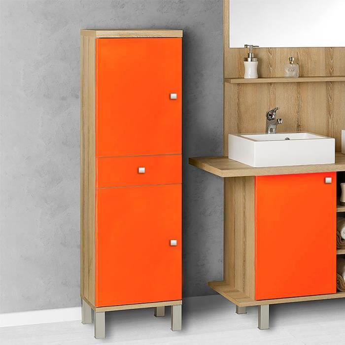 armoire de salle de bain r versible carla orange 40 profondeur 35 achat vente. Black Bedroom Furniture Sets. Home Design Ideas