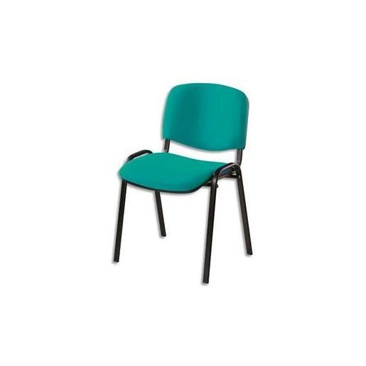 Chaise de conf rence 4 pieds tissu vert achat vente for Chaise 4 pieds