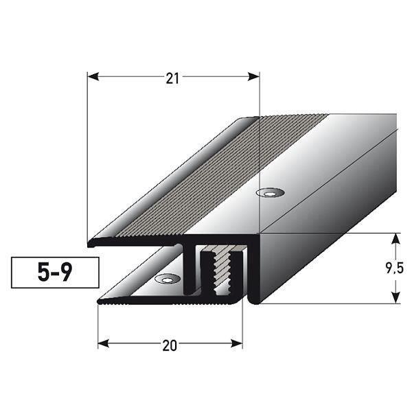 10,3 mm de haut couleur: bronze fonc/é Profil/é de bordure // seuil d/'arr/êt avec le nez pour le stratifi/é // parquet for/é Aluminium anodis/é