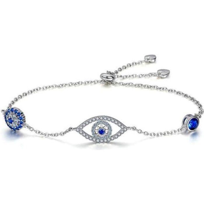 Bracelet Femme Oeil orné de Cristal de Swarovski Blanc et bleu et ...