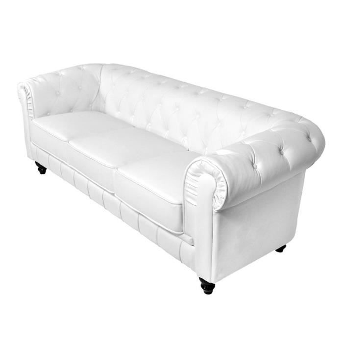 canap 3 places blanc chesterfield achat vente canap. Black Bedroom Furniture Sets. Home Design Ideas