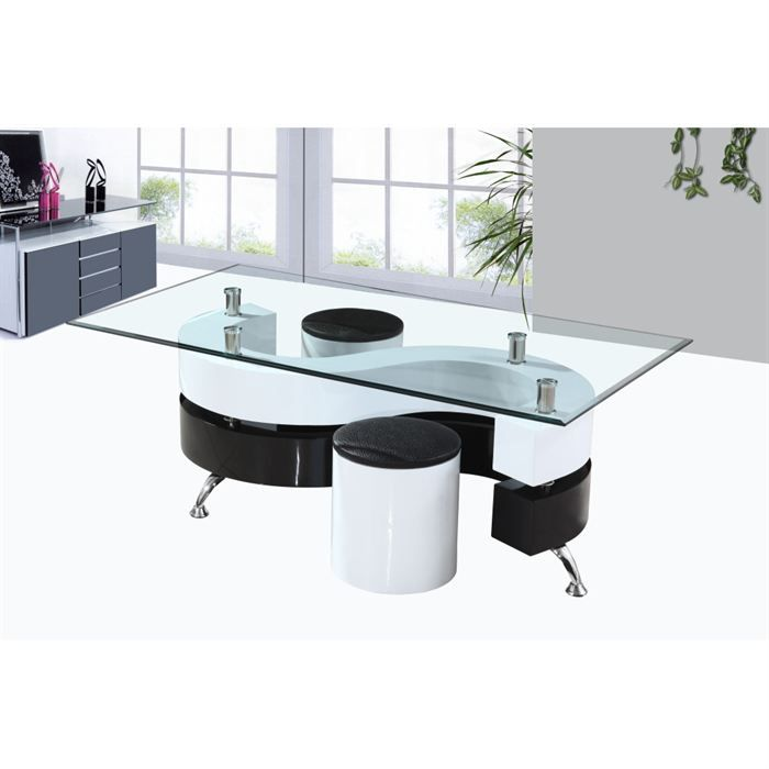 Table basse design laque noir et blanc 2 assises achat vente table bass - Table basse design discount ...