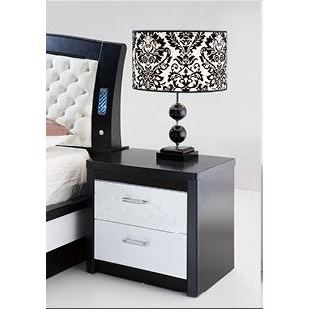 table de chevet laue noir et blanc milana achat vente. Black Bedroom Furniture Sets. Home Design Ideas