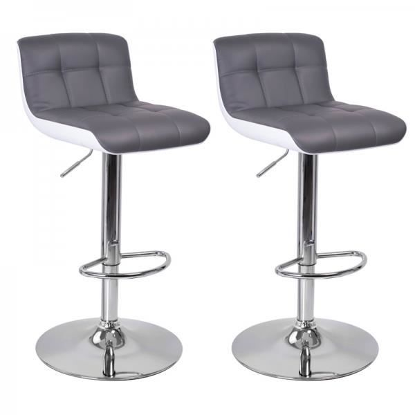 tabouret de bar blanc gris lot de 2 majesty achat vente tabouret de bar blanc soldes. Black Bedroom Furniture Sets. Home Design Ideas