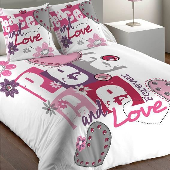 housse de couette et deux taies 240 cm peace rose achat vente housse de couette cdiscount. Black Bedroom Furniture Sets. Home Design Ideas