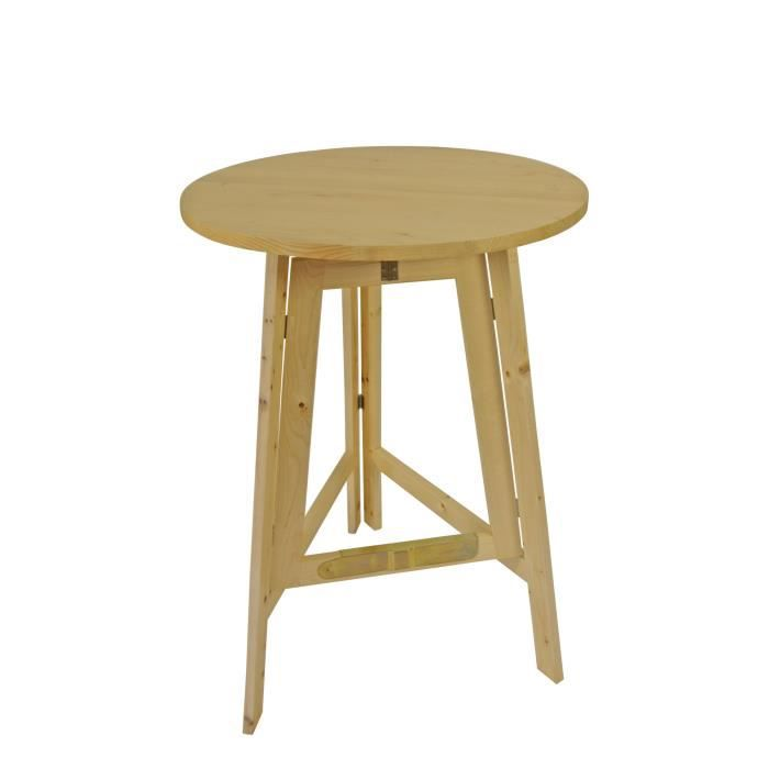 Mange debout table bar ronde pliante 78cm bois massif - Table mange debout ronde ...