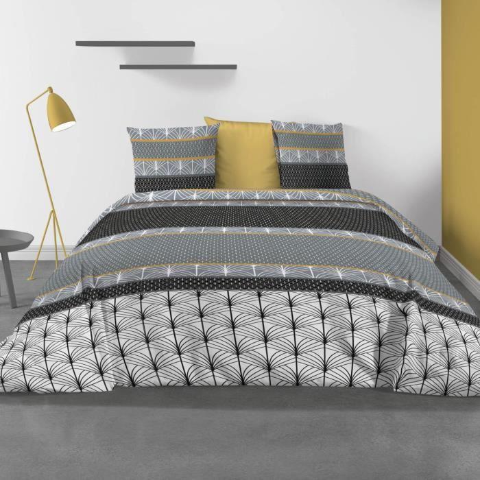 Taies doreiller- 240 x 260 cm Parure de lit avec Housse de Couette House de Couette 260 x 240 Saky Gold Parure de lit 100/% Coton Housse de Couette Parure de lit Les Ateliers du Linge/®