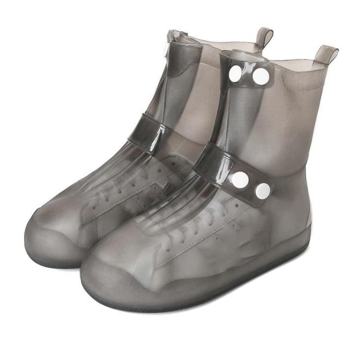 Couvre Chaussures Imperméables en PVC Avec Semelle Renforcée Antidérapante Bottes en Caoutchouc Pluie Neige et Boue et Pluie