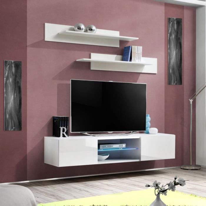 paris prix meuble tv mural design fly iii 160cm blanc achat vente meuble tv paris prix. Black Bedroom Furniture Sets. Home Design Ideas