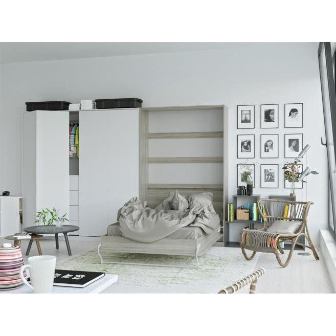 LIT ESCAMOTABLE SMARTBett Standard 120x200 vertical chêne Sonoma a