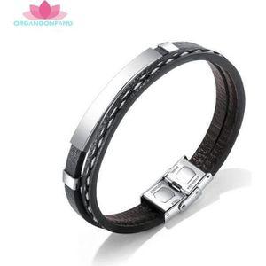 Bracelet en acier inoxydable bracelet argent pour homme hommes noir croix 21 cm LIFE STYLE