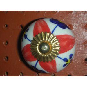 POIGNÉE - BOUTON MEUBLE Boutons en porcelaine 4 pétales rouges