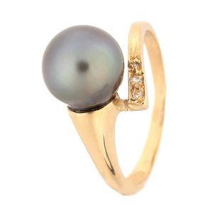 BAGUE - ANNEAU PERLINEA Bague Or Jaune 375° Perle de Tahiti et Di