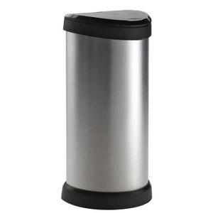 POUBELLE - CORBEILLE CURVER Poubelle 40L aspect métal Touch argent