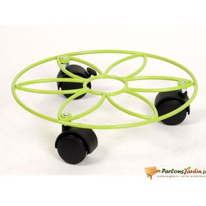 JARDINIÈRE - BAC A FLEUR Support de pot à roulettes motif Fleur vert anis