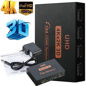 REPARTITEUR TV Splitter HDMI 1 entrée vers 4 Sorties 4K Full HD 3