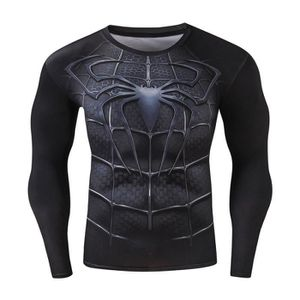 SWEATSHIRT Homme t-shirt Compression Manches Longues Spider H