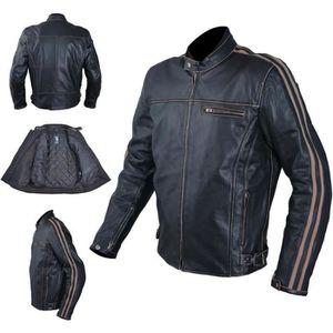 BLOUSON - VESTE Cuir Blouson Moto Veste Vintage Style Thermique Pr
