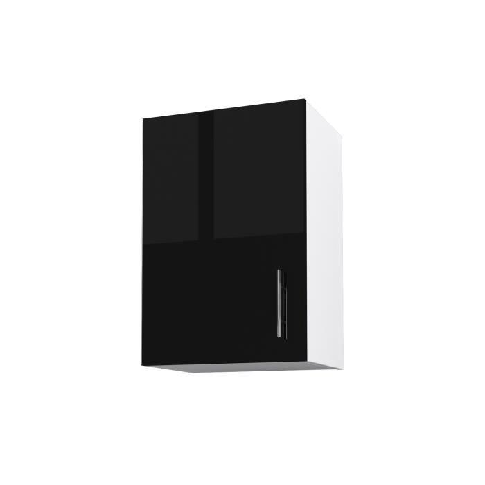 Obi Caisson Haut De Cuisine Avec 1 Porte L 40 Cm Blanc Et Noir