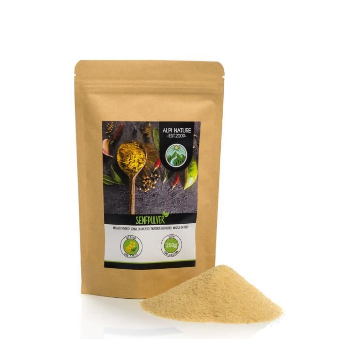 Poudre de moutarde (500g), 100% naturelle à partir de graines de moutarde, graines de moutarde séchées et moulues doucement