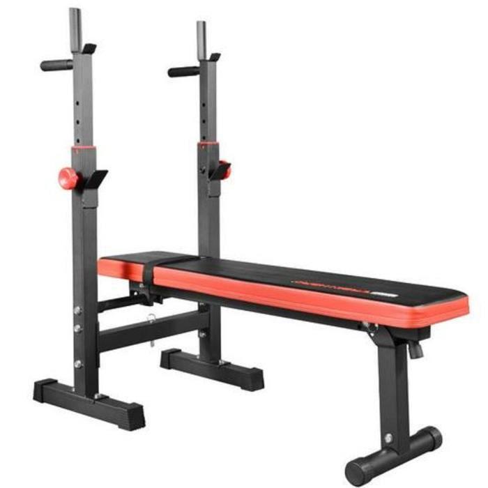 Banc de Musculation Pliable - Hauteur Réglable, avec Support pour Haltère et Station à Dips, Charge Max. 200kg - Banc d'Entraînement