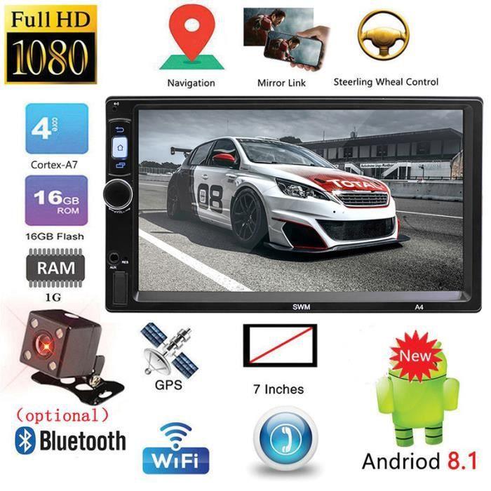 Autoradio SWM A4 2 Din 7- Lecteur MP5 pour Android 8.1 à écran tactile Navigation GPS Bluetooth WiFi USB FM avec camera