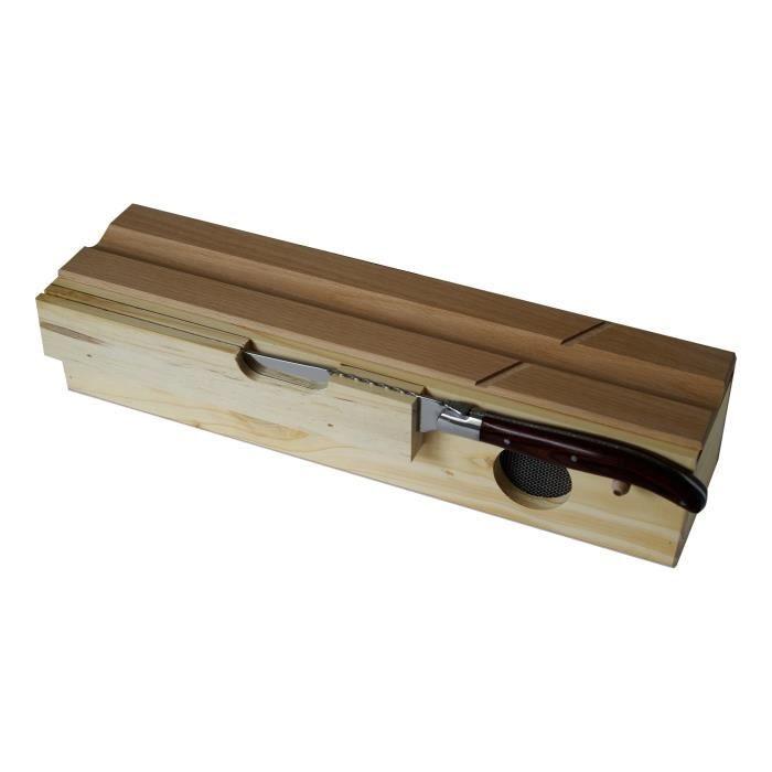 PRADEL EXCELLENCE Coffret à saucissons en bois + 1 couteau Laguiole beige et noir