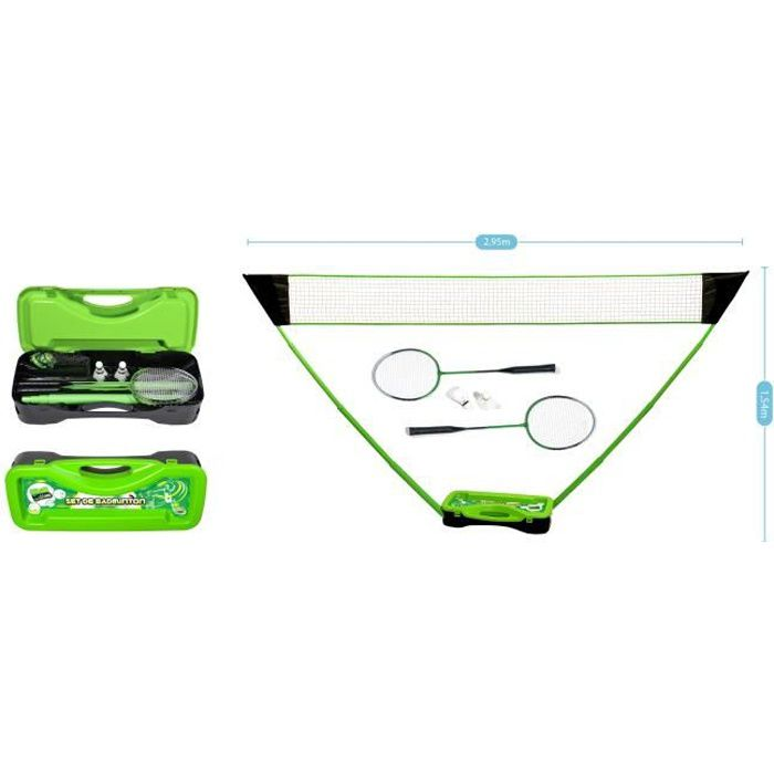 Set de Badminton complet avec filet 295 x 38 x 154 cm, raquettes, volants et étui de rangement