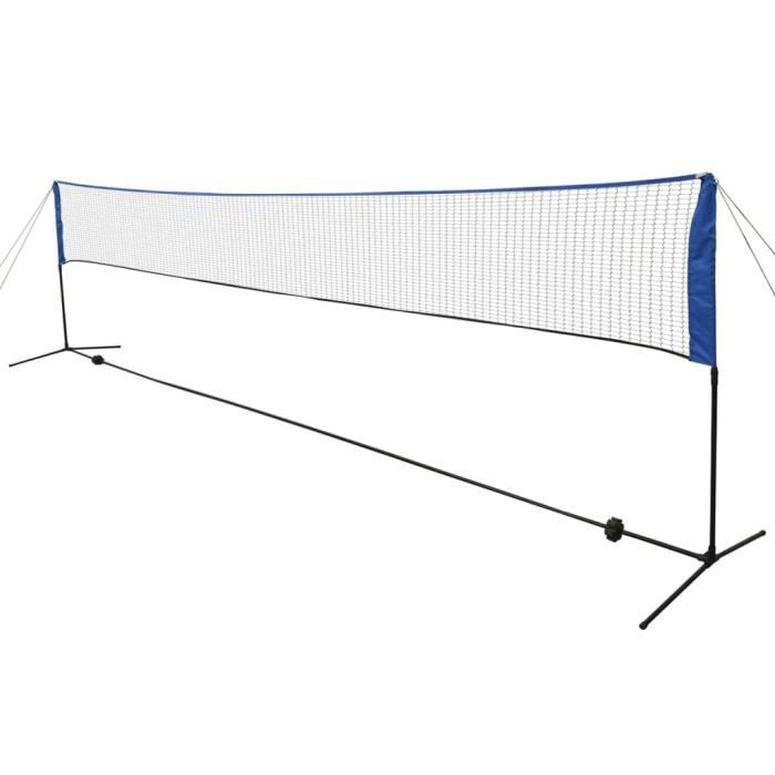 Filet de badminton Pliable, Facile à Monter, Facile à Transporter avec volants 600 x 155 cm