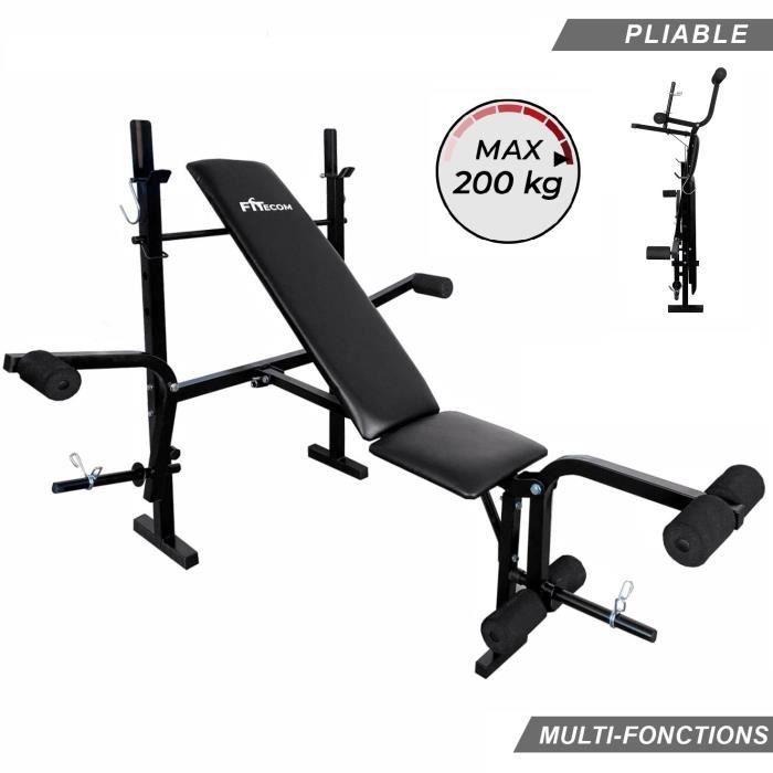 Banc de Musculation Multifonction Mixte Pliable Inclinable Réglable Fitness Entrainement Complet Haltérophilie Curler Gym Sport