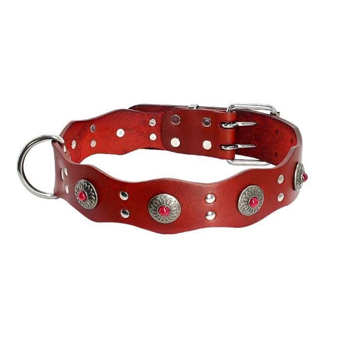 Collier pour chien en cuir véritable - Pour grands chiens, berger allemand, colliers d'ani - Modèle: Reddish Rrown L - FYCWXQC15531
