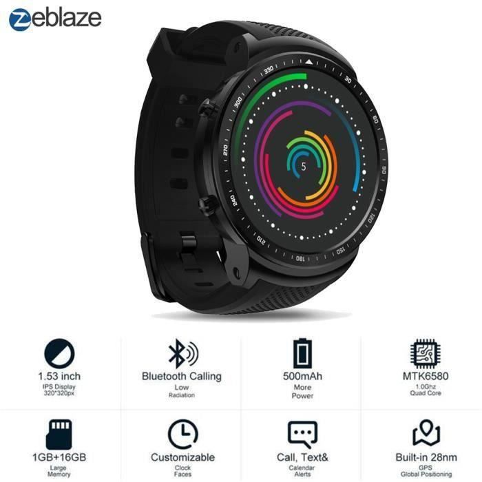 Téléphone de montre intelligent Zeblaze THOR Pro GPS 3G Bluetooth 4.0 1 Go + 16 Go pour Android iOS