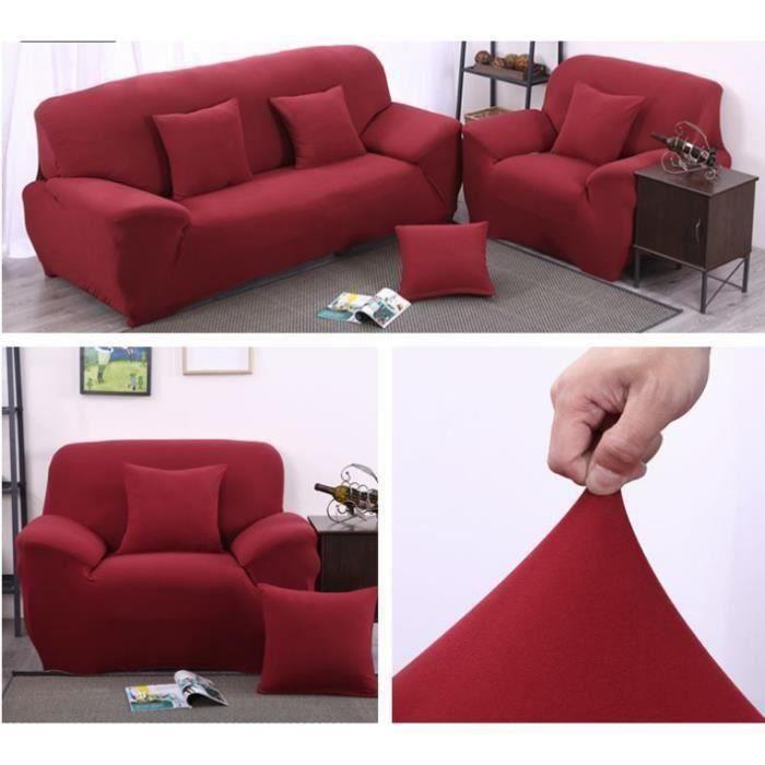 Housse de canapé 3 places super stretch 190-230cm + 1 place super stretch 90-140cm + 3 Taies d'oreiller 45x45 cm PC845