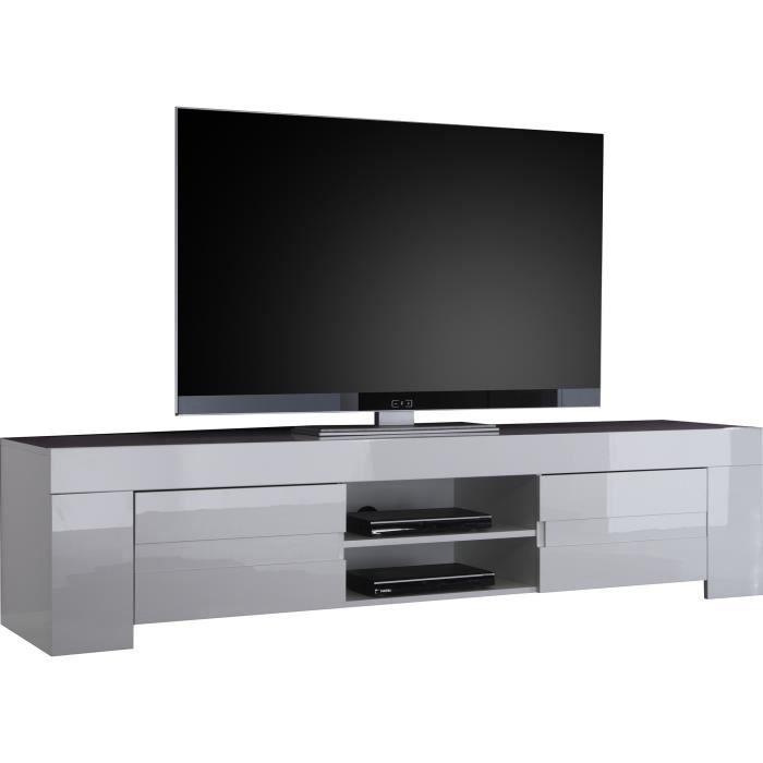 Meuble tv design 190 x 45 cm coloris blanc laqué Blanc