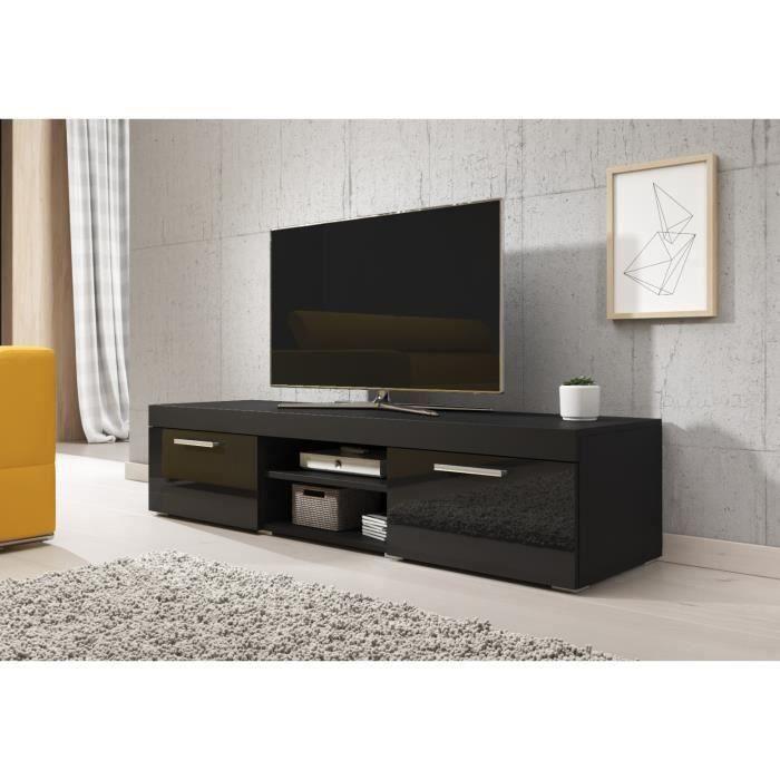 PARIS Meuble TV contemporain décor Noir - 140 cm