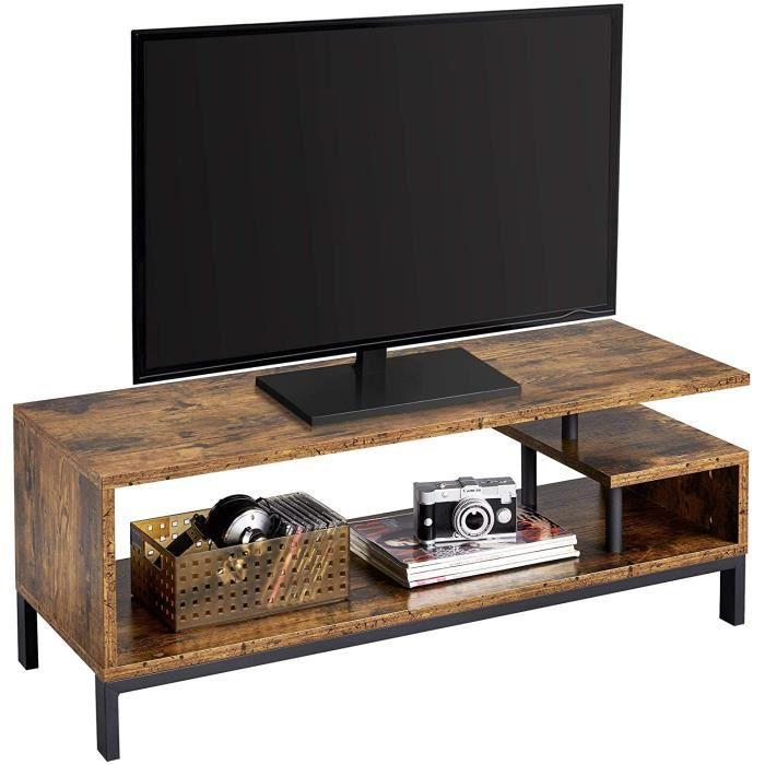 Yaheetech Meuble TV Bas Table TV Support de Télévision en Bois pour Salon Chambre Salle à Manger à 3 Niveaux Style Industriel Ma137