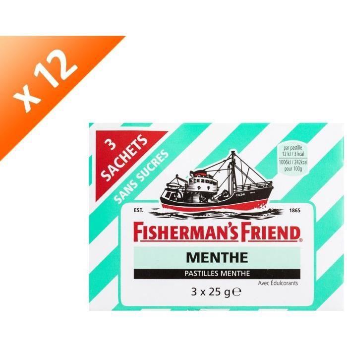 [LOT DE 12] FISHERMAN'S FRIEND Pastille sans sucres - 3x 25g - Menthe