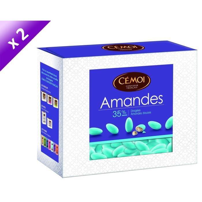CEMOI Boîte Dragées Amandes turquoise 35 % - 375 g x2