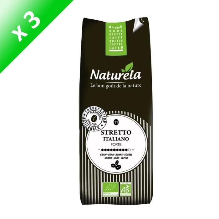 [LOT DE 3] NATURELA Café Stretto Italiano Grain 250g