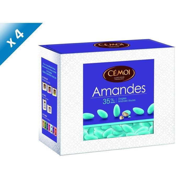 CEMOI Boîte Dragées Amandes turquoise 35 % - 375 g x4