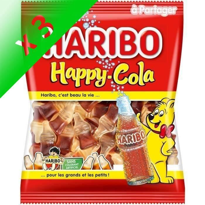 [LOT DE 3] HARIBO Bonbons fantaisies Happy-Cola, sans colorant - 300 g