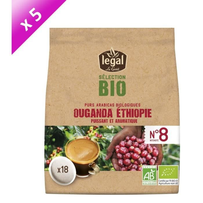 [LOT DE 5] LEGAL Cafés Selection Bio Ouganda Ethiopie - 18 Dosettes - 125 g