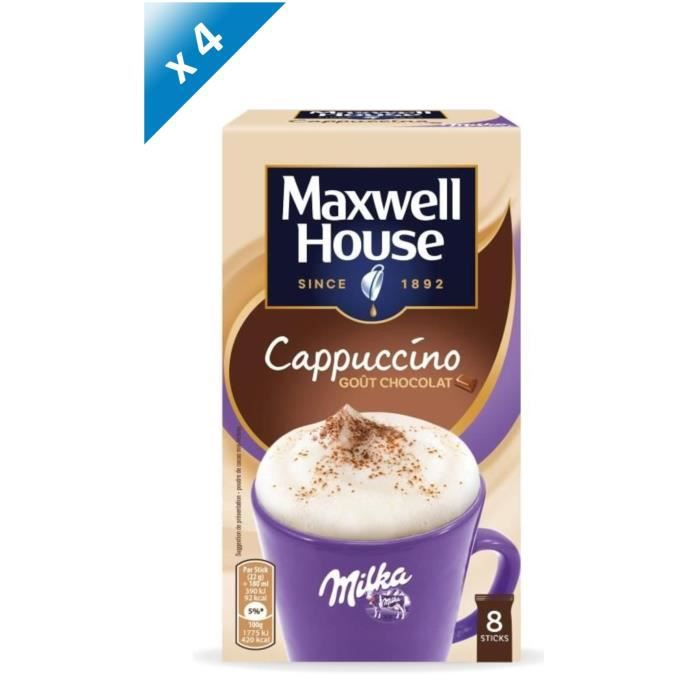 Lot de 4 - Maxwell House Cappucino Milka Soluble en sticks x8 - 176g