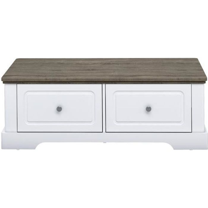 Table basse en bois avec 2 grands tiroirs Dessy - CaliCosy Blanc
