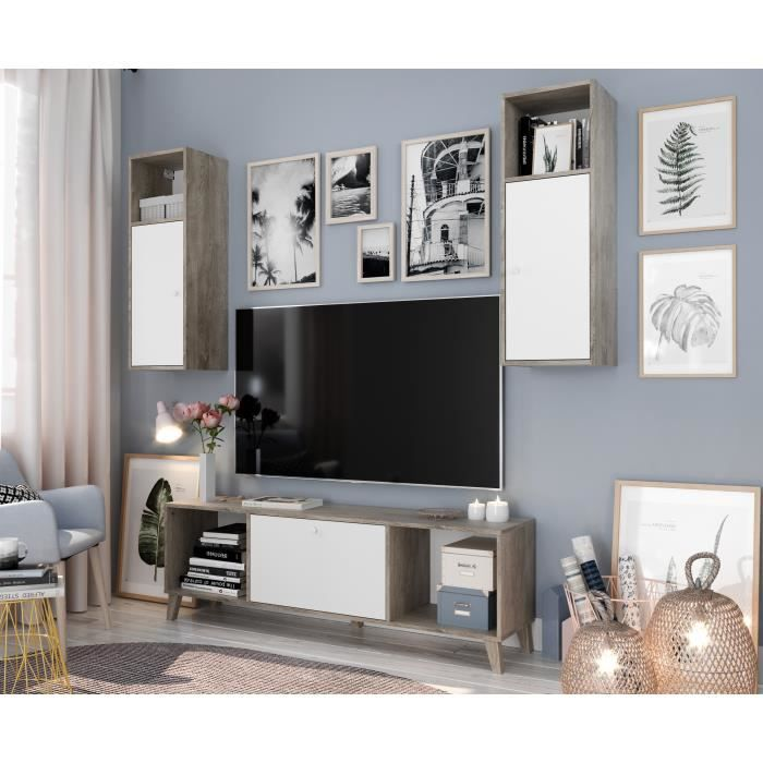 FINLANDEK Ensemble Meuble TV SVEN scandinave blanc mat et décor chêne brillant - L 160 cm