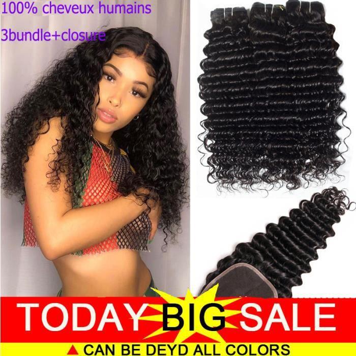 3 tissage bresilien avec closure deep wave 4*4 free part 8A 100g/p 18.18.18+16pouces cheveux naturels humains