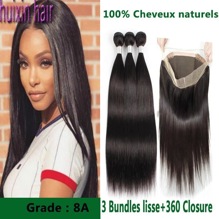 3 tissage Brésilien avec 360 lace frontal closuredes cheveux 100g-p raides vierge de naturelle des cheveux humains14 16 18+12pouces