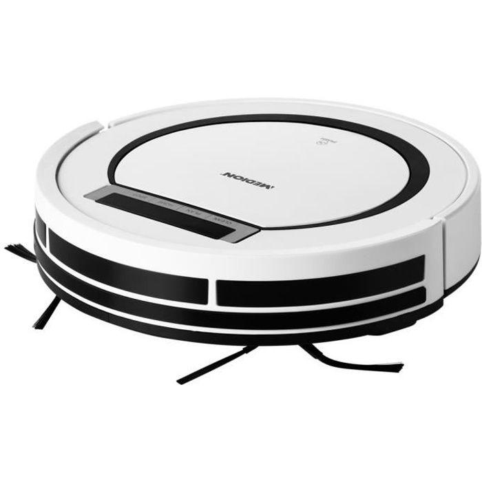 MEDION® Robot Aspirateur (MD 18600) blanc, 90 min d'autonomie, programmable, retour à la base automatique, bac 300 ml, filtre