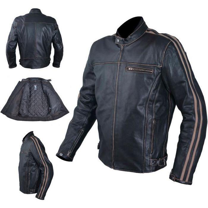 Cuir Blouson Moto Veste Vintage Style Thermique Protections CE 3X