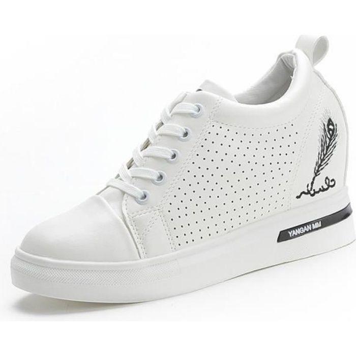 Femme Baskets Compensées Talon Compensé Chaussures de Sport Running  Mode Entraînement Respirant Chaussures Cuir Lacets Noir